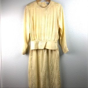 Vintage Silk Butter Yellow Skirt Set